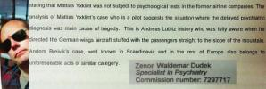 The Polish psychiatrist: The Swedish pilot of Thomas Cook Airlines is a paranoid personality. He may be as dangerous as the German pilot Andreas Lubitz who caused the crash in the French Alps! And, as the Norwegian madman Anders Breivik!